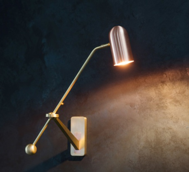 Stasis robbie llewellyn adam yeats applique murale wall light  bert frank stasis wall brass satin polish copper  design signed nedgis 64955 product