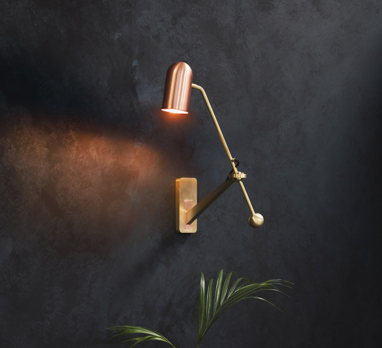 Stasis robbie llewellyn adam yeats applique murale wall light  bert frank stasis wall brass satin polish copper  design signed nedgis 64956 product