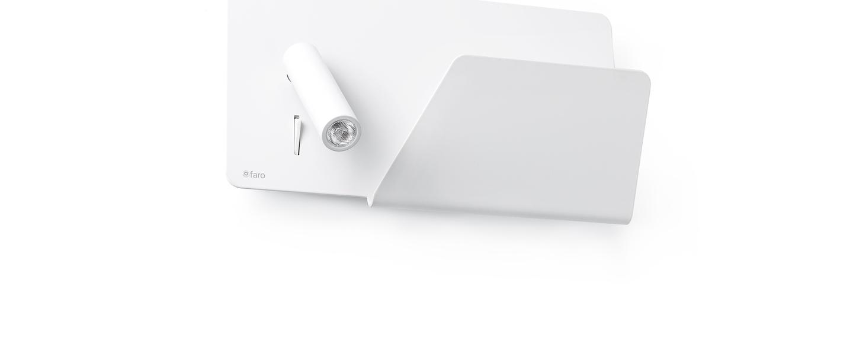 Applique murale suau droit blanc led plaque de rangement usb l28cm faro normal