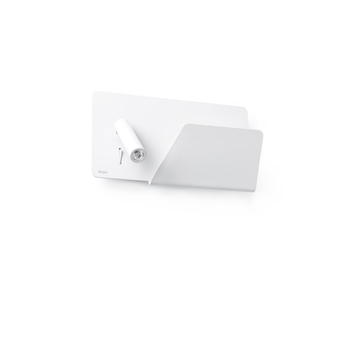 Applique murale suau droit blanc led plaque de rangement usb l28cm faro normal