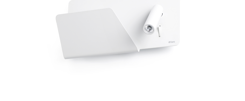 Applique murale suau gauche blanc led plaque de rangement usb l28cm faro normal
