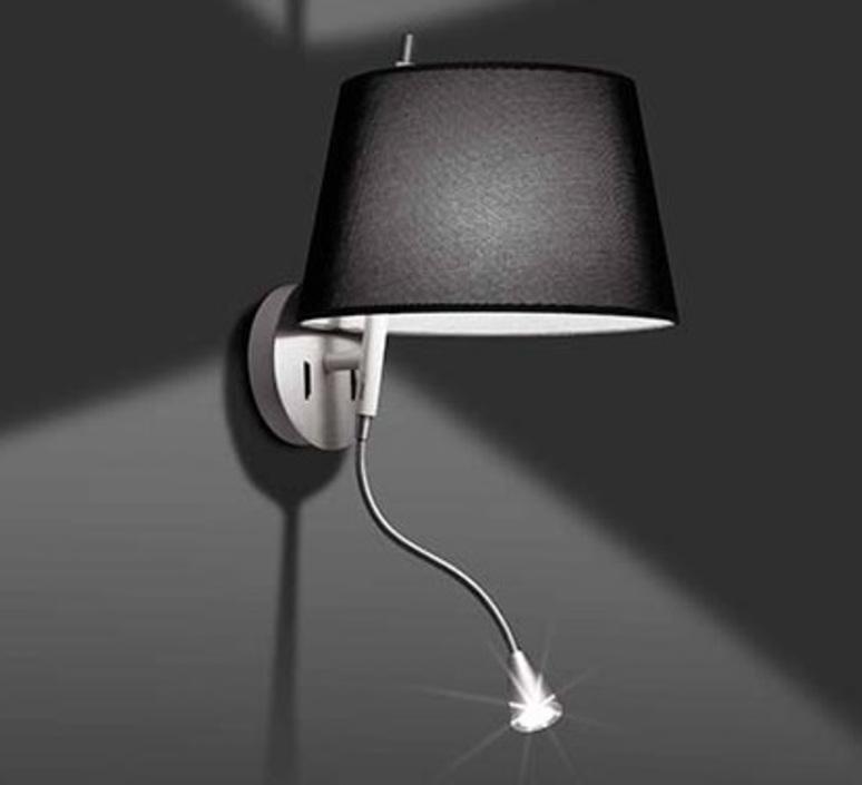 Noir Faro Applique avec Liseuse LED Hotel