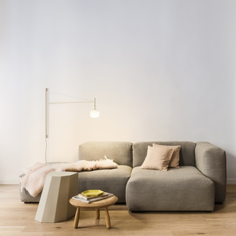 Applique murale tempo 5759 beige 0led 2700k 300lm l116 5cm h80cm vibia normal