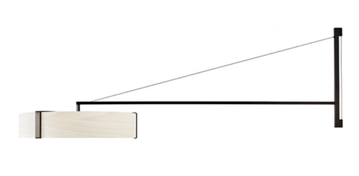 Applique murale thesis ivoire metal finition nickel noir led 3000k lm l125 5cm h50cm lzf normal