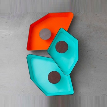 Applique murale trio grand nenuphar led turquoise orange h120cm designheure normal