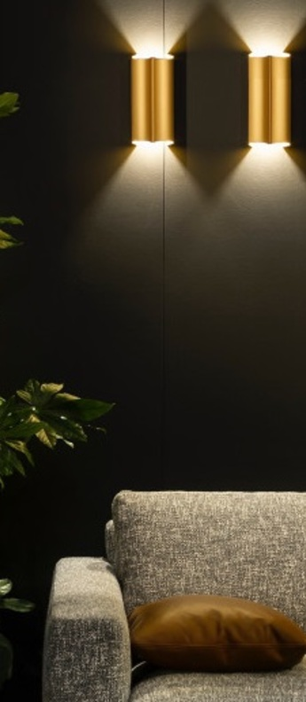 Applique murale twerkit double or led 2700 k 2x300 lm o11cm h22cm dark normal