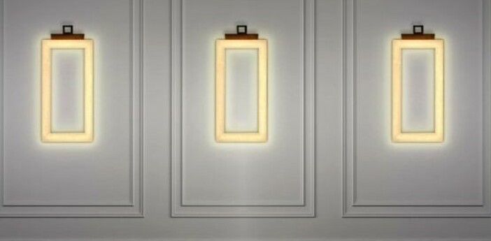 Applique murale uffizi 3 ambre led 2700k 2100lm l25cm h50cm contardi normal