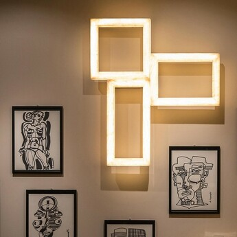 Applique murale uffizi trio ambre led 2700k 6300lm l75cm h85cm contardi normal