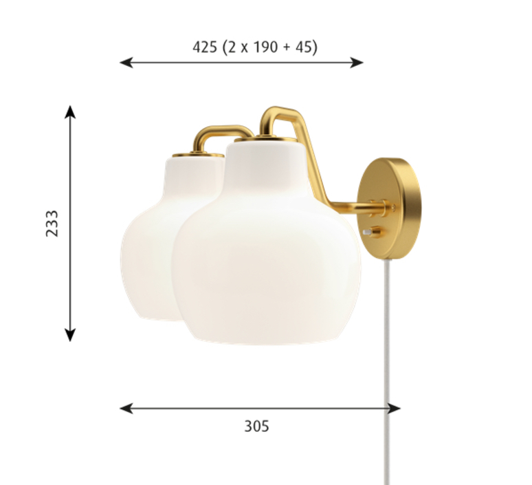 Vl ring crown vilhelm lauritzen  applique murale wall light  louis poulsen vl ring crown wall lamp 2 2x40w e27   design signed nedgis 72335 product