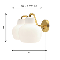 Vl ring crown vilhelm lauritzen  applique murale wall light  louis poulsen vl ring crown wall lamp 2 2x40w e27   design signed nedgis 72335 thumb