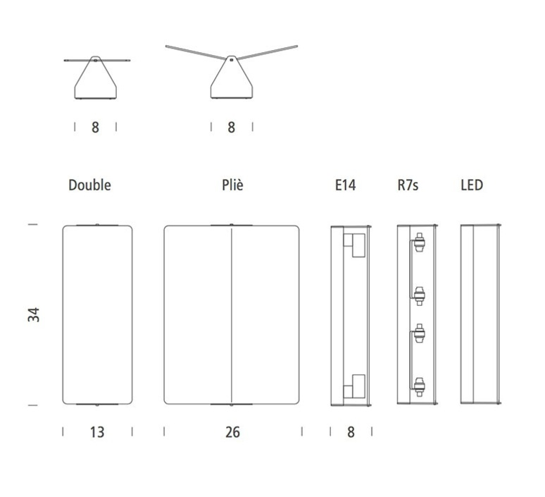 Volet pivotant double charlotte perriand applique murale wall light  nemo lighting avp ewn 33  design signed 75173 product