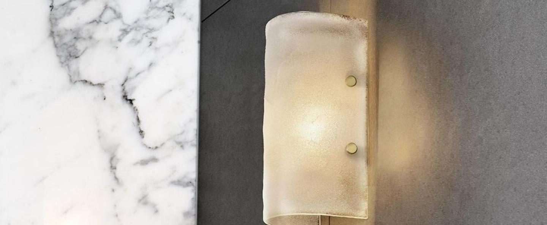 Applique murale whistler verre souffe laiton ip44 l14cm h30cm cto lighting normal