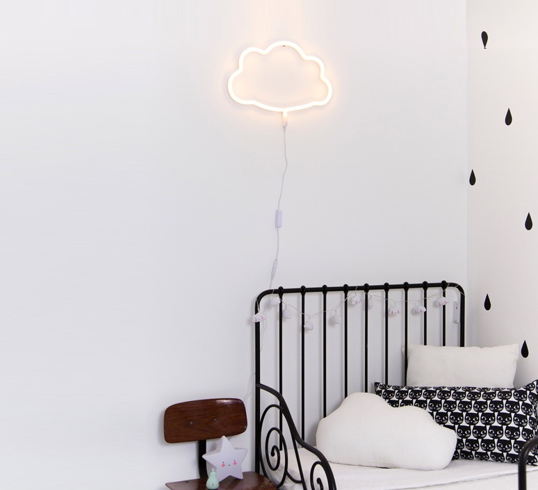 applique neon nuage jaune l34cm h24cm a little lovely company luminaires nedgis. Black Bedroom Furniture Sets. Home Design Ideas