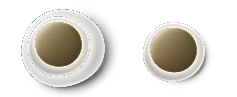Applique ou plafonnier bahia mini led blanc et or led 2850k 2425lm l55cm h6 5cm foscarini normal