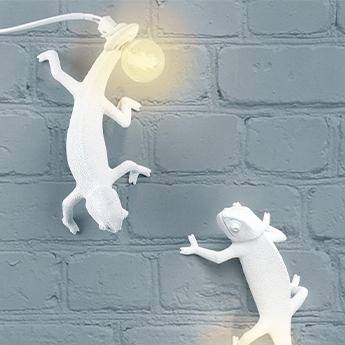 Applique ou plafonnier chameleon lamp going down blanc l21cm h10cm seletti normal
