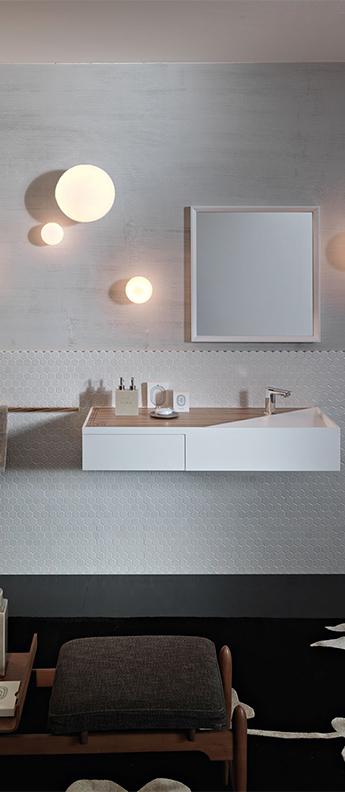 Applique ou plafonnier de salle de bain lumi blanc ip40 o38 5cm h40cm fabbian normal