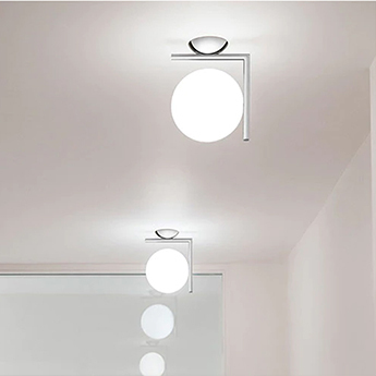 Applique ou plafonnier ic lights c w1 double opalin et chrome l21 6cm h20cm flos normal