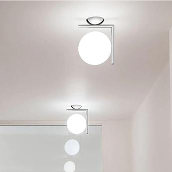 Applique ou plafonnier ic lights c w1 double opalin et chrome l21 6cm h20cm flos normal