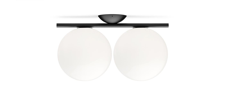 Applique ou plafonnier ic lights c w1 double opalin et noir l42cm h20cm flos normal