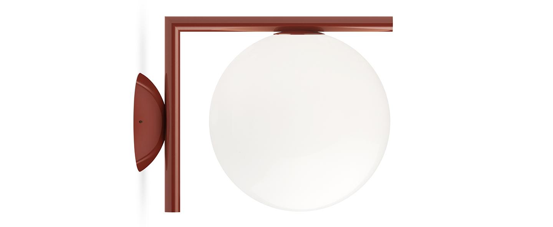 Applique ou plafonnier ic lights c w1 double opalin et rouge burgundy l21 6cm h20cm flos normal