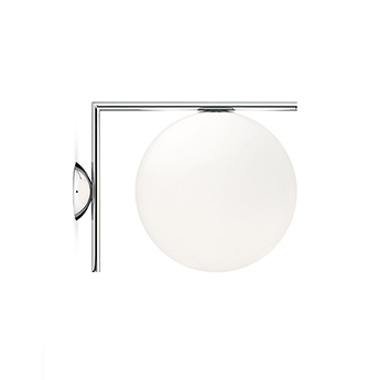 Applique ou plafonnier ic lights c w2 opalin et chrome l31 6cm h30cm flos normal
