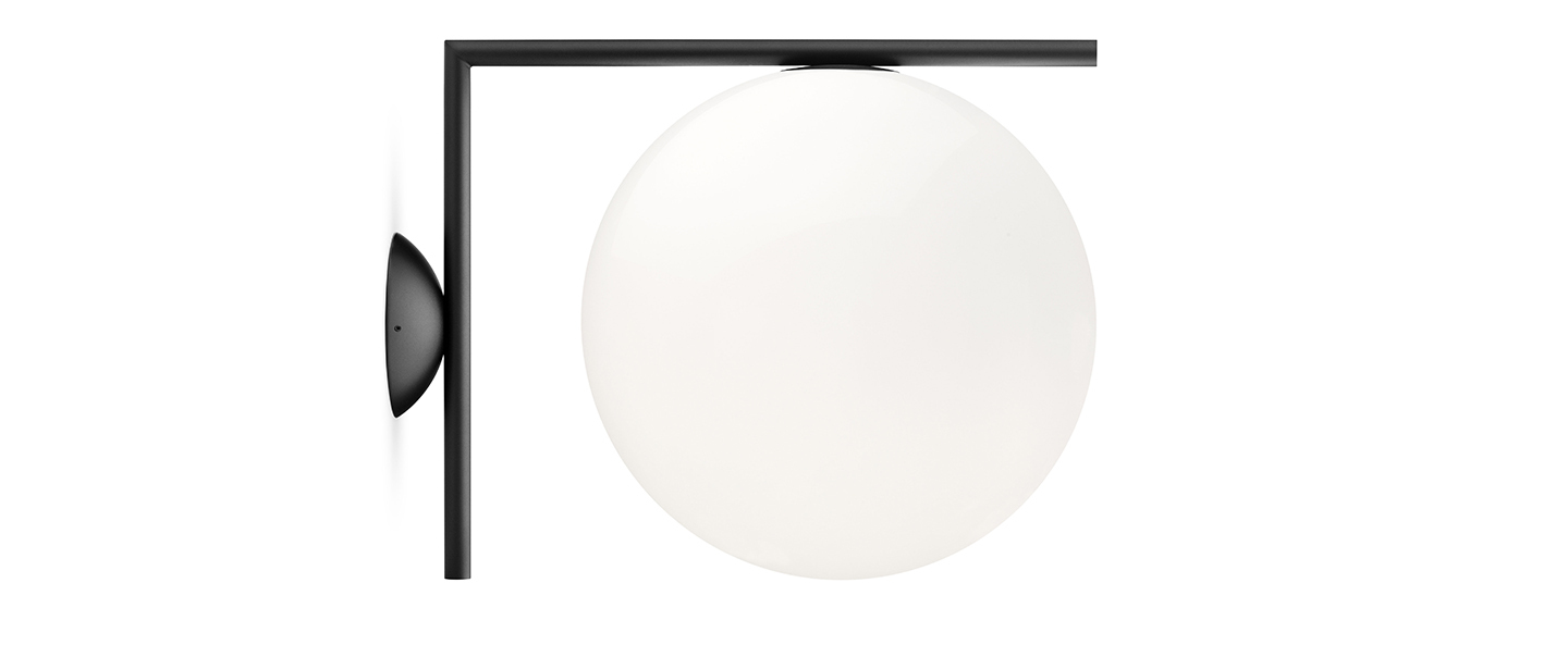 Applique ou plafonnier ic lights c w2 opalin et noir l31 6cm h30cm flos normal