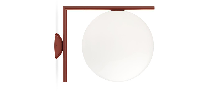 Applique ou plafonnier ic lights c w2 opalin et rouge burgundy l31 6cm h30cm flos normal