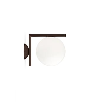 Applique ou plafonnier ic lights wall 1 outdoor opalin et brun fonce ip65 l20cm h21 6cm flos normal