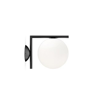 Applique ou plafonnier ic lights wall 1 outdoor opalin et noir ip65 l20cm h21 6cm flos normal