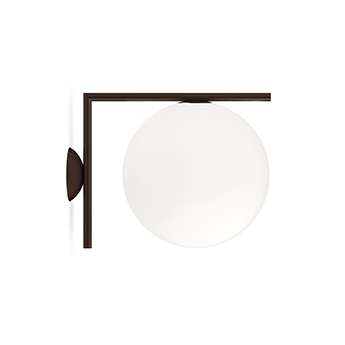 Applique ou plafonnier ic lights wall 2 outdoor opalin et brun fonce ip65 l30cm h31 6cm flos normal