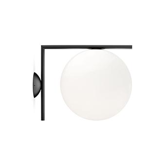 Applique ou plafonnier ic lights wall 2 outdoor opalin et noir ip65 l30cm h31 6cm flos normal