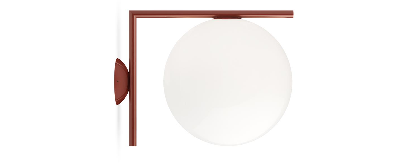 Applique ou plafonnier ic lights wall 2 outdoor opalin et rouge burgundy ip65 l30cm h31 6cm flos normal