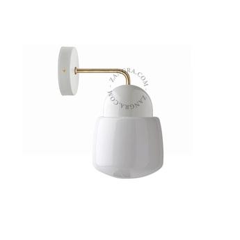 Applique porcelaine blanc en saillie verre opalin o15cm h11 5cm zangra normal