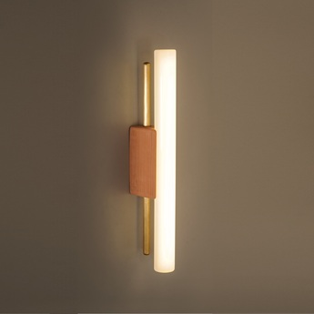 Applique tubus simple 30 terracotta laiton led 2700k 470lm l3 2cm h30cm contain normal