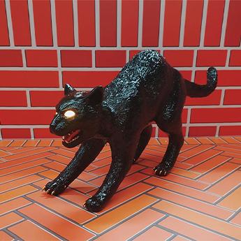 Baladeuse cujo the cat lamp noir led 3300k lm l70cm h32 5cm seletti normal