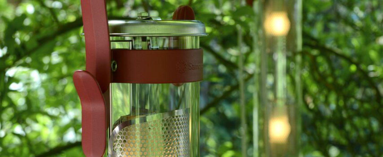 Baladeuse d exterieur balke led dimmable rouge marsala argent h67cm l18cm sammode normal