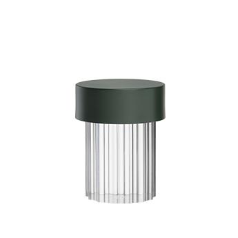 Baladeuse d exterieur last order transparent flute et vert matt ip55 led 2700k 200lm o11cm h14 2cm flos normal