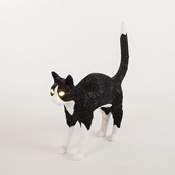 Baladeuse jobby the cat lamp felix noir blanc led 3300k lm l46cm h42cm seletti normal