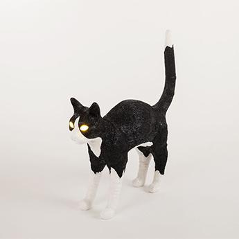 Baladeuse jobby the cat lamp felix noir blanc led 3300k lm l46cm h42cm seletti normal