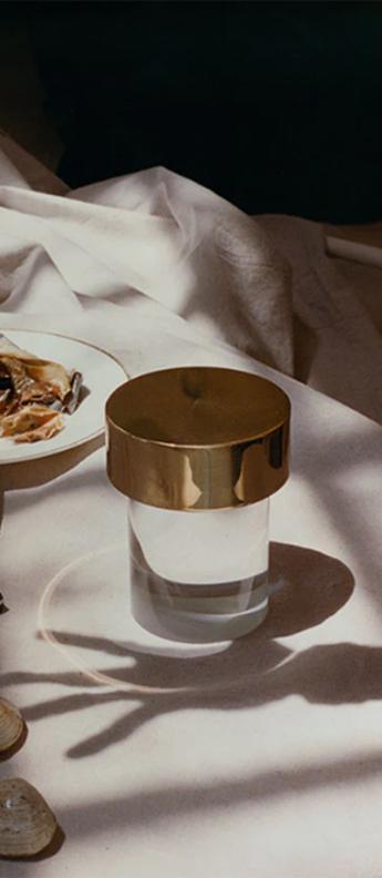 Baladeuse last order transparent lisse et laiton poli ip55 led 2700k 200lm o11cm h14 2cm flos normal