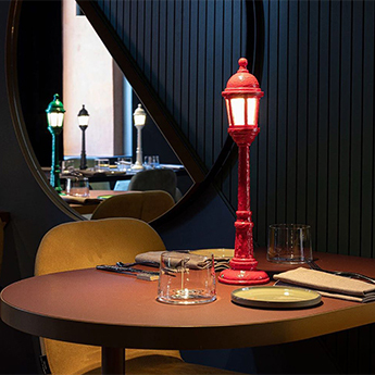 Baladeuse street lamp dining rouge led 3000k 55lm o9 8cm h42cm seletti normal