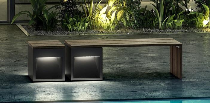 Banc d exterieur lumineux lap bench bois gris l160cm b lux normal