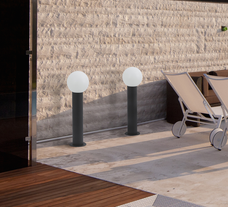 borne d 39 ext rieur moon gris anthracite h69cm faro luminaires nedgis. Black Bedroom Furniture Sets. Home Design Ideas