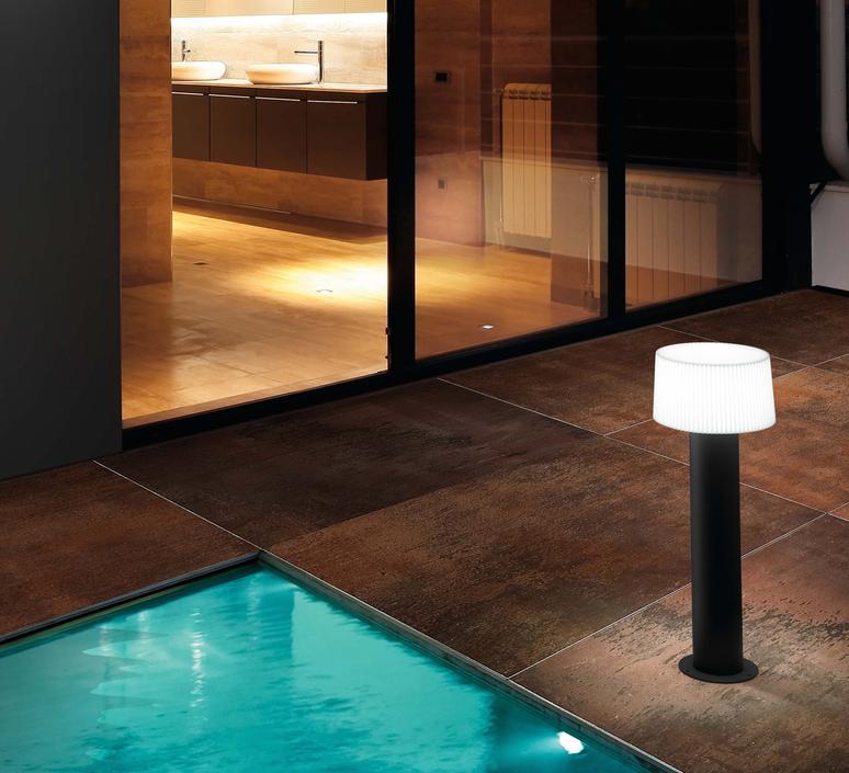 borne d 39 ext rieur muffin gris anthracite h55 9cm faro luminaires nedgis. Black Bedroom Furniture Sets. Home Design Ideas