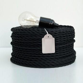 Cable electrique textile tresse noir 1m zangra normal