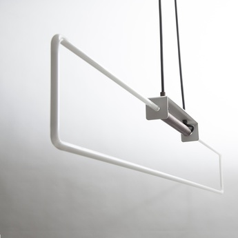 Csuspension ra pendant neon blanc laiton naturel l112cm h9cm d armes normal