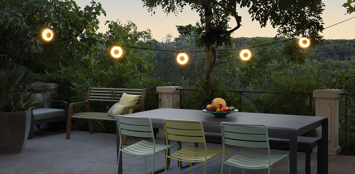 Guirlande lumineuse hoop bluetooth cactus ip54 led 3000k 960lm o1200cm h9 6cm fermob normal