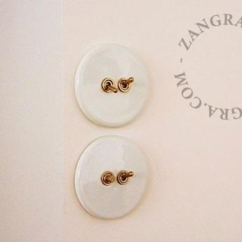 Interrupteur a bascule double porcelaine 010 blanc laiton o10cm zangra normal