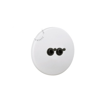 Interrupteur double porcelaine 020 blanc bouton noir o10cm zangra normal