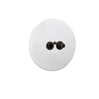Interrupteur double poussoir et interrupteur porcelaine20 blanc et noir o10cm h10cm zangra normal